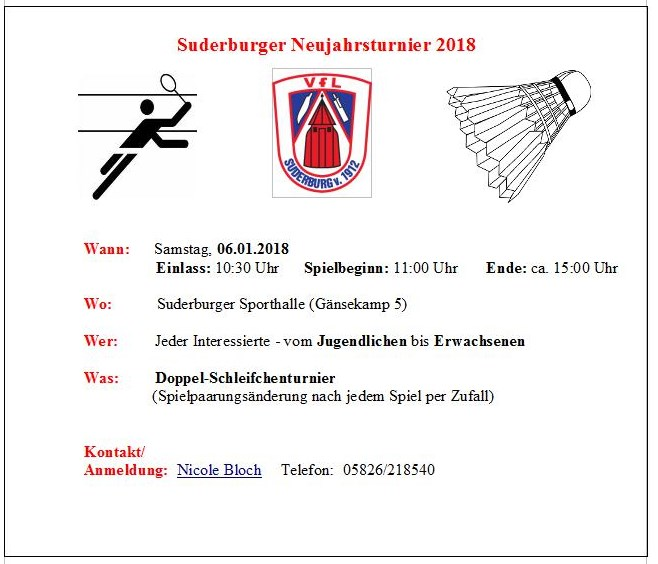 Flyer: Suderburger Neujahrsturnier 2018